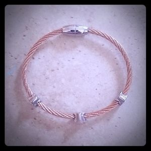 Twisted cable magnetic bracelet w/ pave charms